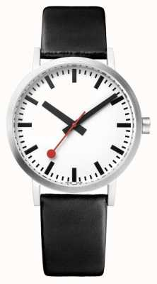 Mondaine Classic Pure 36 mm | Black Leather Strap | White Dial Watch A660.30314.16OM