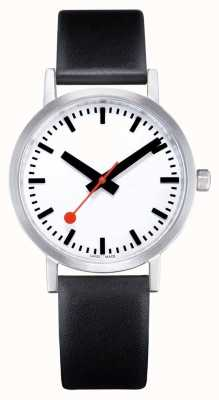 Mondaine Classic Pure 40 Mm | Black Leather Strap | White Dial A660.30360.16OM