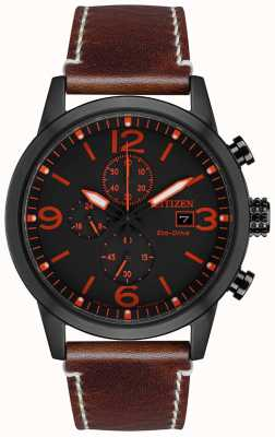 Citizen Eco-Drive Sport Brown Leather Strap | Black Dial CA0617-11E