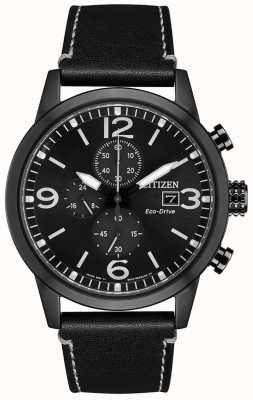 Citizen Eco-Drive Sport Black Leather Strap | Black Dial CA0617-29E