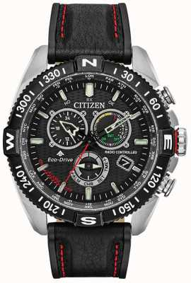 Citizen Mens Promaster Navihawk Radio Controlled A.T Chrono Black Dial Black Leather CB5841-05E