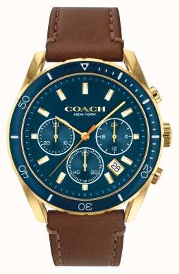 Coach Men's Preston | Brown Leather Strap | Blue Dial 14602513