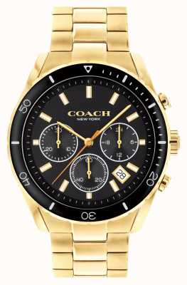 Coach Men's Preston | Gold Plated Steel Bracelet | Black Dial 14602517