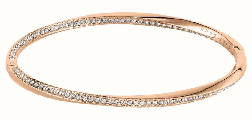 BOSS Jewellery Signature Carnation Gold IP Bangle - Crystal Set 1580130-M