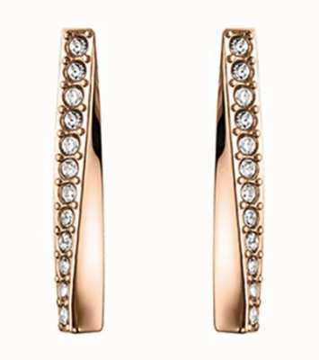 BOSS Jewellery Signature Carnation Rose Gold IP Twisted Bar Earrings - Crystal Set 1580132
