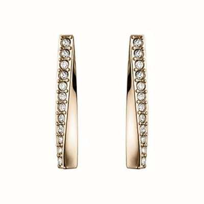 BOSS Jewellery Signature Carnation Gold IP Twisted Bar Earrings - Crystal Set 1580132