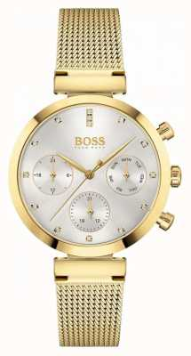 BOSS Women's Flawless | Gold Plated Mesh Bracelet | Silver Dial 1502552