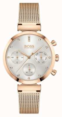 BOSS Women's Flawless | Rose Gold Mesh Bracelet | Silver Dial 1502553