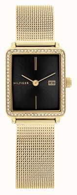 Tommy Hilfiger Women's Tea | Gold Plated Mesh Bracelet | Black Square Dial 1782295