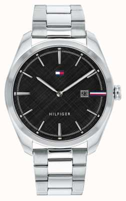 Tommy Hilfiger Men's Theo | Silver Stainless Steel Bracelet | Black Dial 1710440