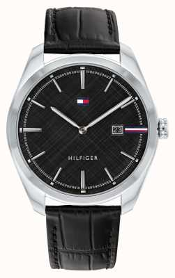 Tommy Hilfiger Men's Theo | Black Leather Strap | Black Dial 1710439