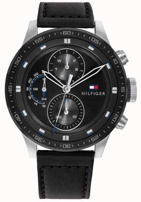 Tommy Hilfiger Men's Trent | Black Leather Strap | Black Dial 1791810