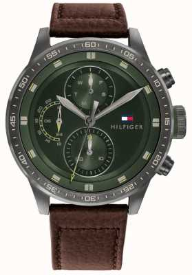 Tommy Hilfiger Men's Trent | Brown Leather Strap | Green Dial 1791809