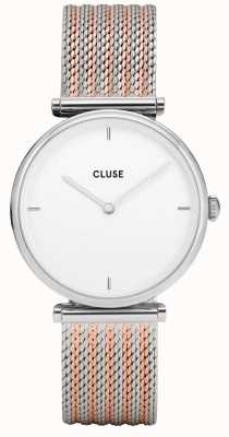 CLUSE Triomphe | Two-Tone Steel Mesh Bracelet | White Dial CL61001