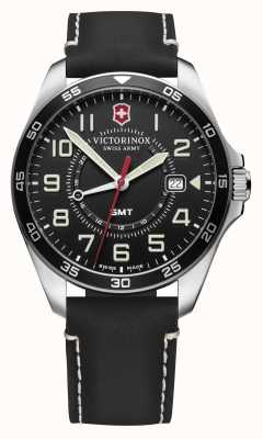 Victorinox Swiss Army | Men's FieldForce GMT | Black Leather Strap | Black Dial 241895