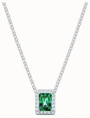 Swarovski Angelic | Rhodium Plated | Green |Rectangle Pendant Necklace 5559380
