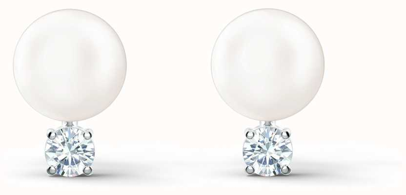Swarovski Treasure | Pearl Pierced Earrings | Rhodium Plated | White 5559420