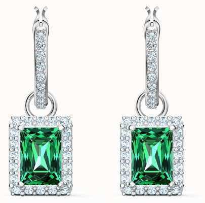 Swarovski Angelic | Rectangle Pierced Earrings | Green |Rhodium Plated 5559834