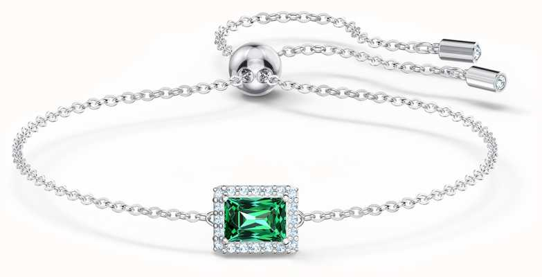 Swarovski Angelic | Rhodium Plated | Green Rectangle Pendant |Bracelet 5559836