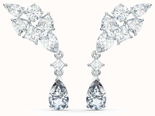 Swarovski Tennis Deluxe | Rhodium Plated | Cluster Pierced Earrings 5562086