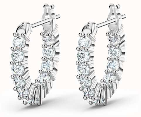 Swarovski Vittore | Mini Hoop Pierced Earrings | Rhodium Plated |White 5562126