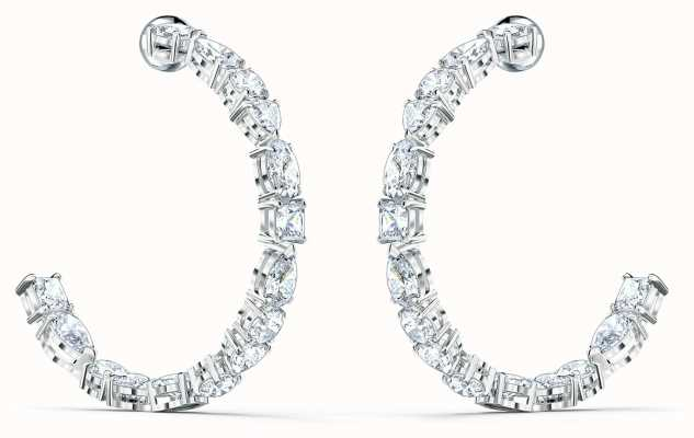 Swarovski Tennis Deluxe | Rhodium Plated | Hoop Pierced Earrings | 5562128
