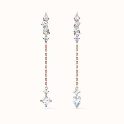 Swarovski Attract | Rose Gold Plated | White | Pierced Drop Earrings 5563118