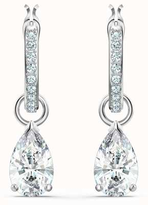 Swarovski Attract | Mini Hoop Pierced Earrings | Rhodium Plated |White 5563119