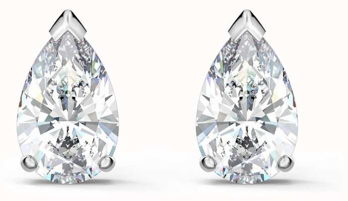 Swarovski Attract | Rhodium Plated | Pear Stud Pierced Earrings |White 5563121