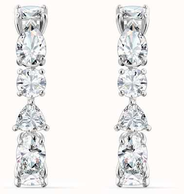 Swarovski Tennis Deluxe | Pierced Drop Earrings |Rhodium Plated |White 5563322