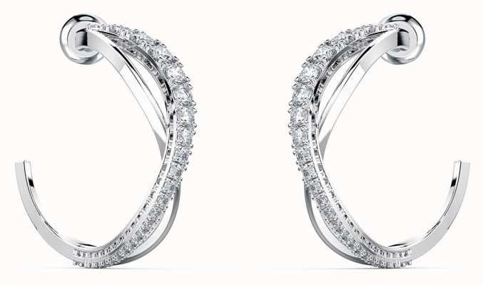 Swarovski Twist | Hoop Pierced Earrings | Rhodium Plated | White 5563908