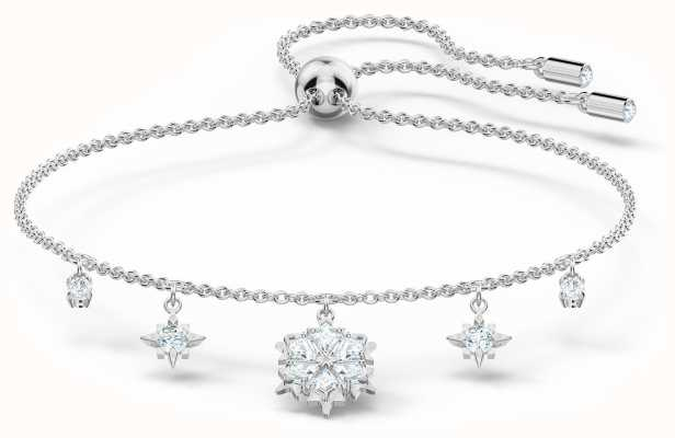 Swarovski Magic | Rhodium Plated | Bracelet | White Snowflake Charms 5576695