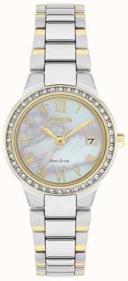 Citizen Ladies Silhouette Crystal Eco-Drive Two-tone Mother-of-pearl Dial Watch EW1994-57N