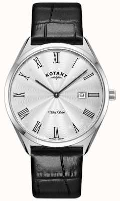 Rotary Men's Ultra Slim | Black Leather Strap | Silver Dial GS08010/01