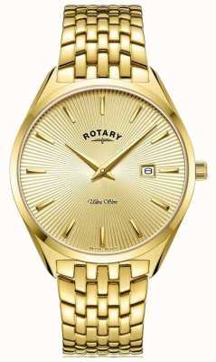 Rotary Men's Ultra Slim | Gold Plated Steel Bracelet | Gold Dial GB08013/03