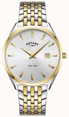 Rotary Men's Ultra Slim | Two-Tone Steel Bracelet | Silver Dial GB08011/02