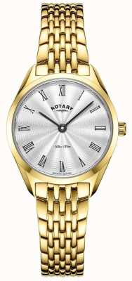 Rotary Women's Ultra Slim | Gold Plated Steel Watch | Silver Dial LB08013/01