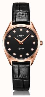 Rotary Ultra Slim Women's Rose Gold Diamond Watch LS08014/04/D