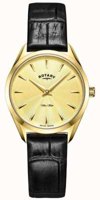 Rotary Ultra Slim Women's Gold Leather Watch LS08013/03