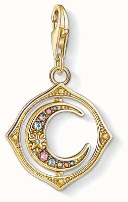 Thomas Sabo Charming | 18k Yellow Gold Plated Moon Charm Pendant | Colourful Stones 1855-959-7