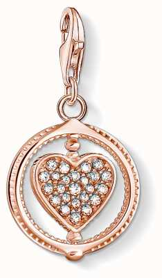 Thomas Sabo Charming | 18k Rose Gold Plated Heart Charm Pendant | Silver Stones 1859-416-14