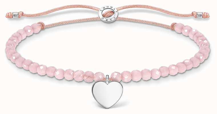 Thomas Sabo Charming | Silver Heart Rose Quartz Beaded Tie Bracelet A1985-813-9-L20V