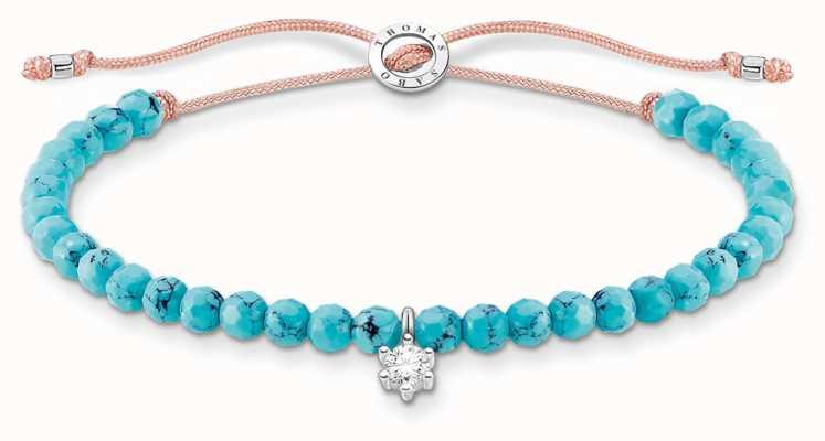 Thomas Sabo Charming | Silver Stone Turquoise Beaded Tie Bracelet A1987-905-17-L20V