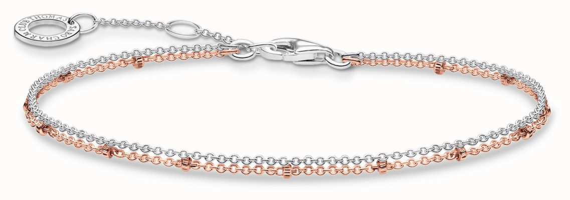 Thomas Sabo 18k Rose Gold Plated/Sterling Silver Double Bracelet A1997-415-40-L19V