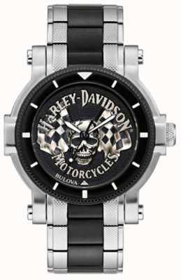 Harley Davidson Men's Skull And Flags | Two-Tone Steel Bracelet | Black Dial 78A124