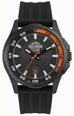 Harley Davidson Men's Dashboard | Black Silicone Strap | Black Dial 78B140