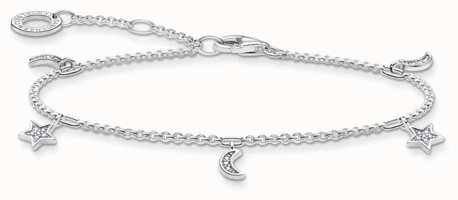 Thomas Sabo Charming | Star & Moon Sterling Silver Bracelet | 16-19cm A1994-051-14-L19V