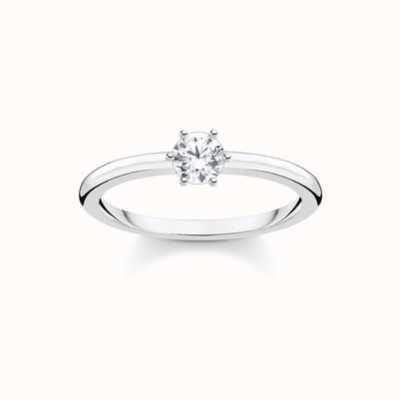 Thomas Sabo White Stone Silver Women's Size 54 Ring TR2313-051-14-54
