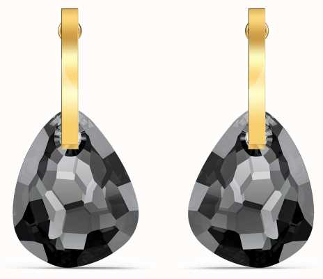 Swarovski T-Bar Pierced Earrings | Gold Tone | Grey 5565999