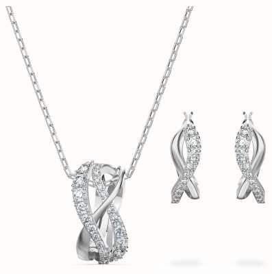 Swarovski Twist Set | Rhodium Plated | White | Necklace& Earring Set 5579790